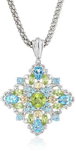 """Sterling Silver and 14k Yellow Gold Blue Topaz and Peridot Pendant Necklace, 18"""""""