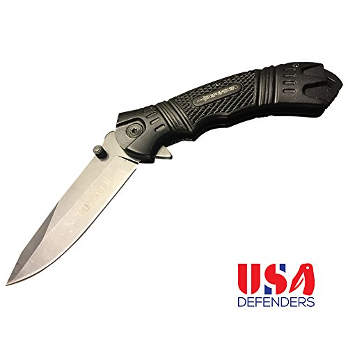 Best Folding Knife Spring Assisted Pocket Knife with Clip. Black Folding Knife for Hunting and Tactical. New Rescue Knife Survival