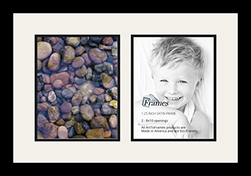 Art to Frames Double-Multimat-36-61/89-FRBW26079 Collage Photo Frame Double Mat with 2 - 8x10 Openings and Satin Black Frame