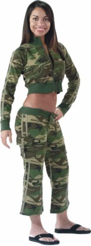 Woodland Camouflage Womens Capri Sweatpants