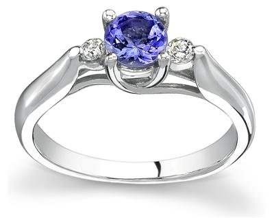 Three Stone 14kt White Gold Tanzanite and Diamond Ring