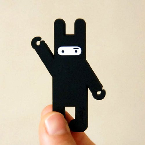 Bds - Cute Cartoon (Ninja Rabbit - Black) Earphone Winder / Cord Manager / Cable Winder + One Free Smart Wrap Silicone Rubber Earphone/Earbud Cord Manager Cable Winder Wrap Reel
