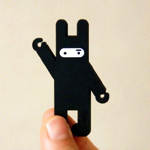 Bds - Cute Cartoon (Ninja Rabbit - Black) Earphone Winder / Cord Manager / Cable Winder + One Free Smart Wrap Silicone Rubber Earphone/Earbud Cord Manager Cable Winder Wrap Reel