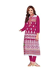 Stylish Dress With Cotton Top And Cotton Bottom And Naznin Dupatta - B0191QR4NY