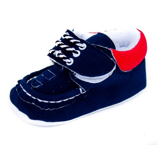 Baby Boys Adorable Faux Suede Velcro Fasten Boat Shoes - In Navy or Brown