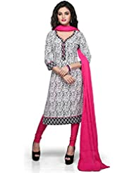 Vastra Vinod White And Black Cotton Readymade Kurti With Legging