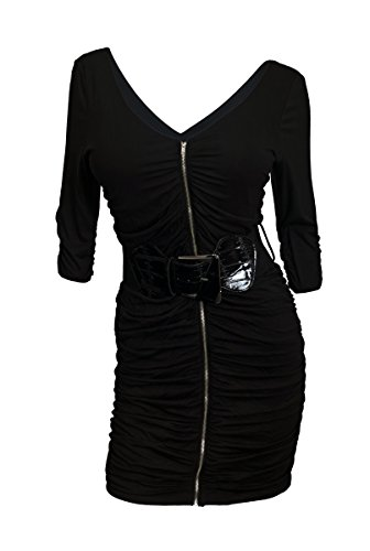 eVogues Plus Size Zipper Front Belt Accented Mini Dress Black - 3X