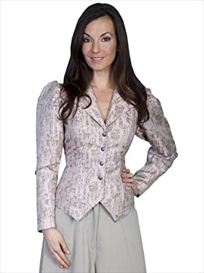 Scully Classic 1880s Styling Jacket with Floral Print - Taupe  AT vintagedancer.com