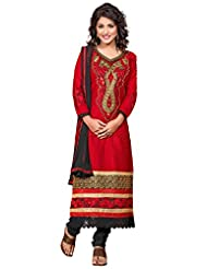 Manvaa Red And Black Embroidered Suit With Semi-Cotton Fabric
