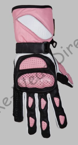 Waterproof white and pink womens leather motorcycle gloves XS images