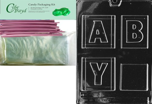 """Cybrtrayd """"Large Baby Block"""" Baby Chocolate Candy Mold With Packaging Bundle, Includes 50 Cello Bags And 50 Pink Twist Ties front-765904"""