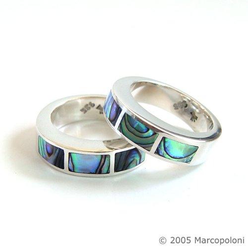 Paua (Abalone) Shell Chunky Segmented Ring, US Size 7.5