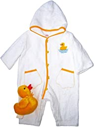 J.J. Coolwear Unisex-baby Baby Duck Bathing Towelling Bunting Size 12m White