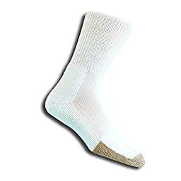 Thorlo Men's Tennis Crew Sock, White/Platinum, Medium