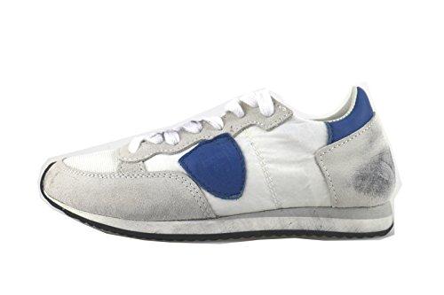 PHILIPPE MODEL sneakers bambino bianco tessuto blu camoscio AH970 (31 EU)