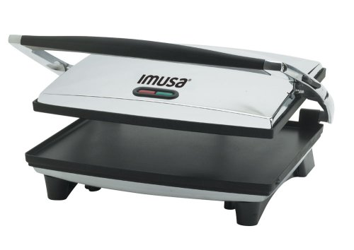 IMUSA GAU-80102 Electric Panini and Sandwich Maker Nonstick Panels, Chrome