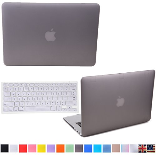"""HDE Matte Hard Shell Clip Snap-on Case + Matching Keyboard Skin for MacBook Pro 13"""" with Retina Display - Fits Model A1425 / A1502 (Gray)"""