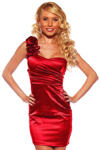 Designer One Shoulder Satin Prom Party Evening Fitted Dress, Small, Red