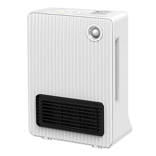 Fochea 暖房器 小型 セラミックファンヒーター 暖房機 1200W/600W 2段階切替 温風&送風 人感センサー コンパクト 脱衣所 トイレ 洗面所 足元ヒーター -