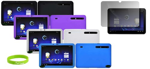 CrazyOnDigital 4 Soft Gel Silicone Skin Cases with Screen Protector for the Motorola Xoom Android Tablet