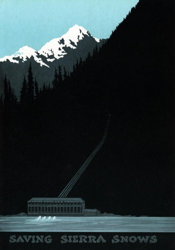 Saving Sierra Snows Power Company Advertisement Wall Mural - 42 Inches H X 29 Inches W - Peel And Stick Removable Graphic
