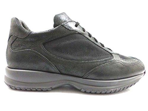 scarpe uomo SANTONI 44 EU sneakers pelle tessuto nero AZ267