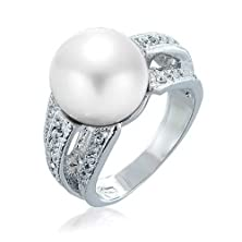 buy Bling Jewelry Triple Row Crystal White Simulated Pearl Cocktail Ring Rhodium Plated