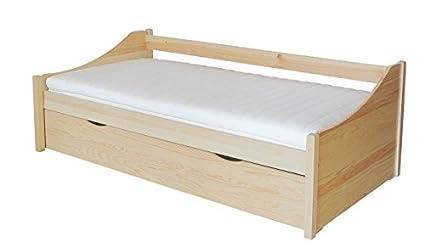 Bett / Funktionsbett Kiefer massiv Vollholz natur 93, inkl. Lattenrost - Abmessung 90 x 200 cm