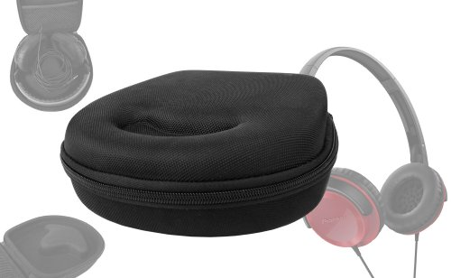 Duragadget Hard Eva Small Storage Case For Headphones / Earbuds For Pioneer: Se-Mj502, Se-Mj591, Se-Mj751, Se-Mj721, Hdj500R, Semj502 Und Se-Mj531, Hdj-2000, Hdj-1500, Hdj-1000, Hdj-500 - With Netted Compartment (Black)
