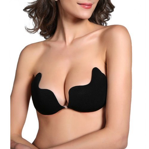 HDE Sexy Strapless Backless Self Adhesive Invisible Push-up Wing Bra Breast Pad (Black, Large- Fits 32DD/34D/36C/38B)