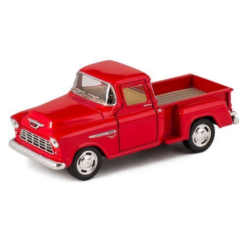 Red 1955 Chevy Stepside Pick-Up Die Cast Collectible Toy Truck