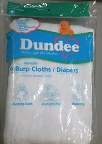 New Dundee Burp Cloths/Diapers, White, 100% Cotton, 6 Per Package (Dundee Burp Cloth compare prices)