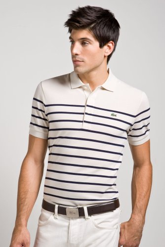 Short Sleeve Pique Placed Stripe Polo