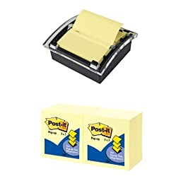 Post-it Pop-up Notes Dispenser, Black Dispenser + Post-it Pop-up Notes, 3 x 3-Inches, Canary Yellow, 12 Pads