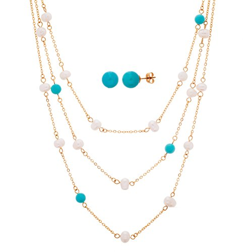 gold-tone-stainless-steel-turquoise-pearl-cable-chain-18-necklace-and-5mm-pearl-earring-set