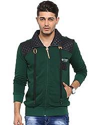 Showoff Men's Full Sleeves Solid Olive Casual Sweatshirt