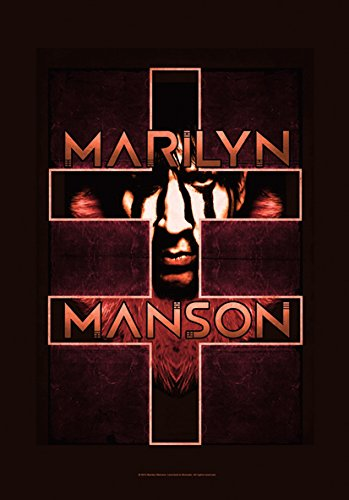 Heart Rock Licensed Bandiera Marilyn Manson - Double Cross, Tessuto, Multicolore, 110X75X0,1 cm