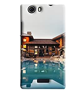 Blue Throat Resort With Pool Printed Designer Back Cover/Case For Micromax Nitro 2 (E311)