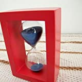 Amazon.co.jp[Neustadt] オシャレな 木製枠の 砂時計 30分計 個性的な お色 赤枠×ブルー