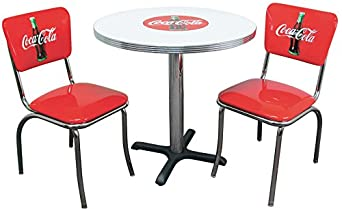 Vitro seating products cctc coca cola dinette furniture set with 30 round table and - Coca cola table and chairs set ...
