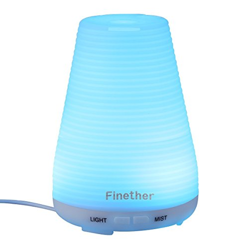 Finether 100ML Aroma Essential Oil Diffuser Ultrasonic Aromatherapy Purifier Humidifier Air Mist and 7 Color Changing LED Lights (Sonic Clean Between Machine compare prices)