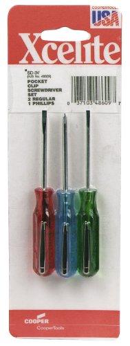 Xcelite Sd3V 3-Piece Phillips Pocket Clip Screwdriver Set front-926184