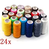 Sodial- 24 Assorted Colors Polyester Sewing Thread-Pack Of 24