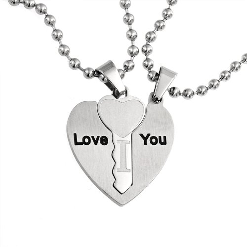Bling Jewelry I Love You Couples Key to My Heart Pendant Set Stainless Steel