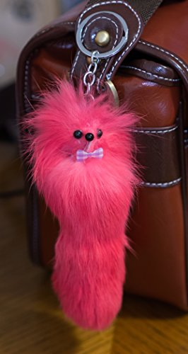 [3 FOR 2! Pale pink Big 20cm Designer Fur Keyring, Charm, Cute Animal, Unique Gift, Cute, Chain, Fox, Ferret, Monster Keychain Cerise, vibrant, florescent, furry friend, key Ponpon, bag] (Van Cleef Arpels Costume Jewelry)