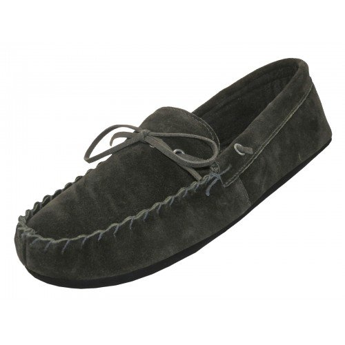 MEN'S MOCCASINS - BLACK - HOUSE SLIPPERS - INDOOR