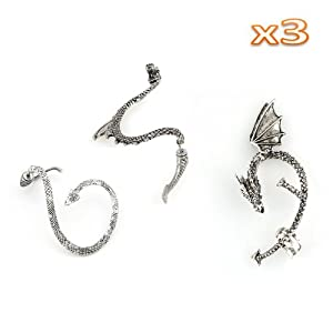 niceEshop(TM) 3pcs Different Shape Temptation Earring Gothic, Gothic Right/Left Ear-Retro Silver +Free niceEshop Cable Tie