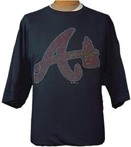 4XL MLB Atlanta Braves Navy Blue Short Sleeve T-shirt with BLING logo by NHL