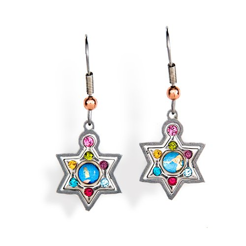 Multicolor Star of David Judaic Earrings with Hypoallergenic stainless steel ear wire from the Artazia Collection #2304M JE