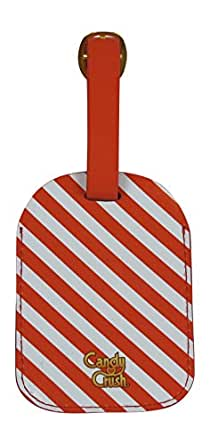 Candy Crush Luggage Tag Red and White Stripes